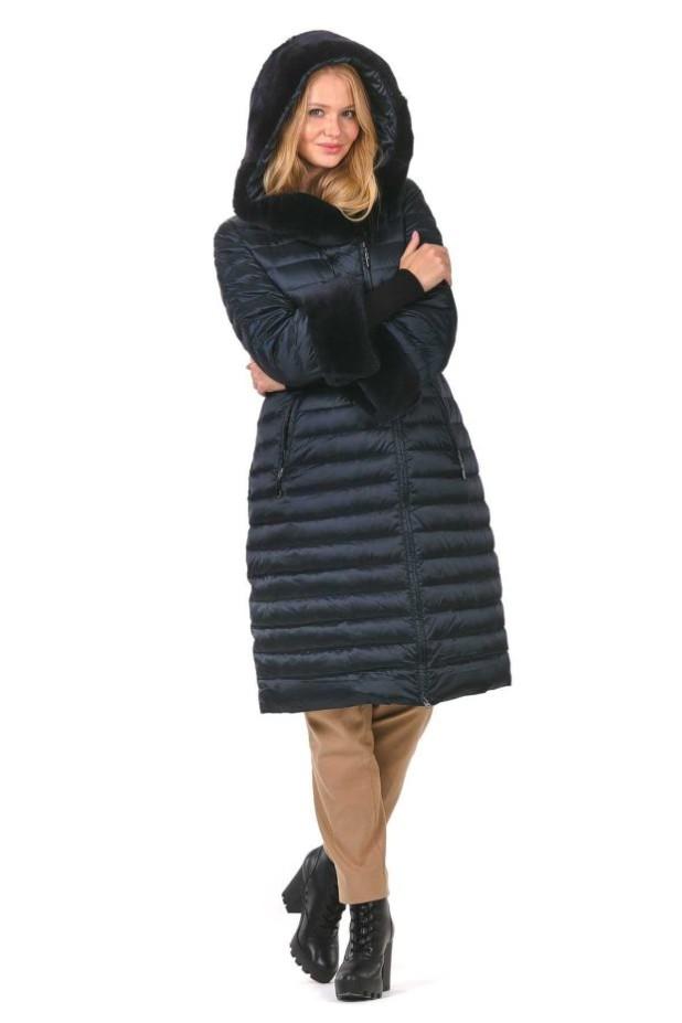 женское пальто: синее пуховик