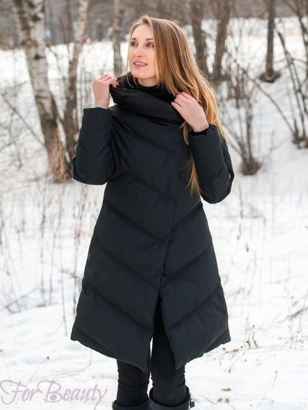 Женское черное пальто пуховик 2018