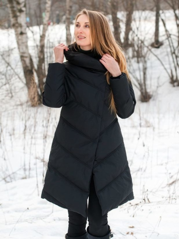 женское пальто: черное пуховик