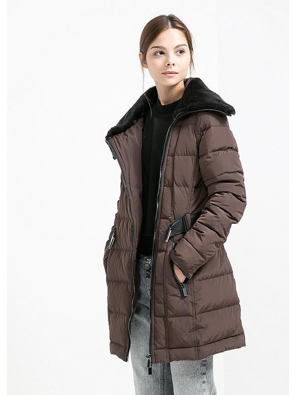 женское пальто: коричневое пуховик