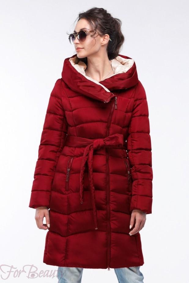 Женское красное пальто пуховик 2018