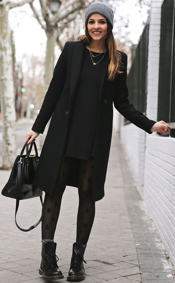 Женское черное пальто 2018