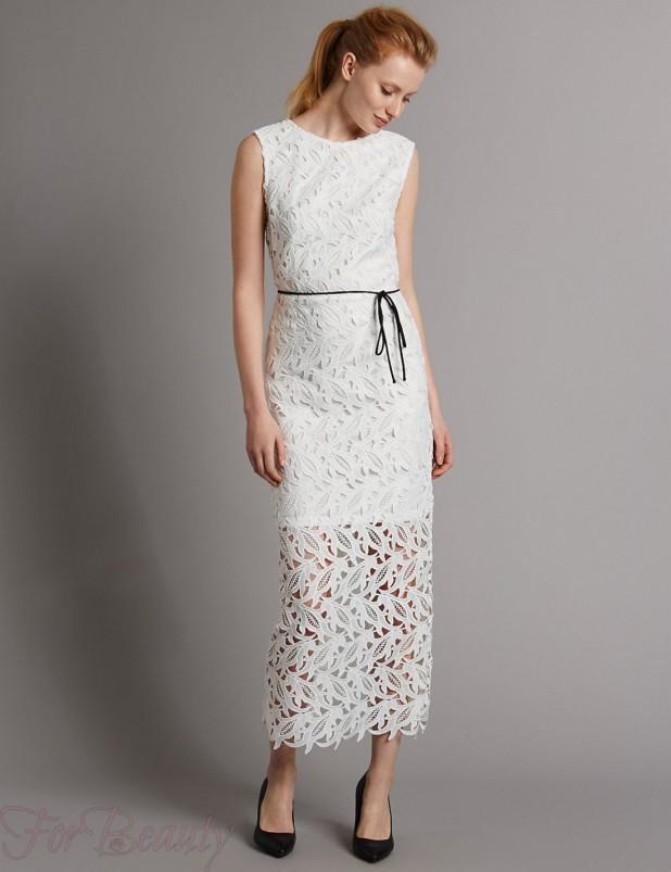 Модные платья макси длины 2018 белые