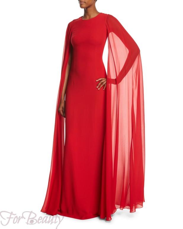 Модные платья с накидкой 2018 красные