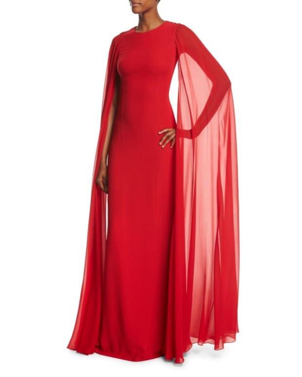 Модные платья с накидкой красные