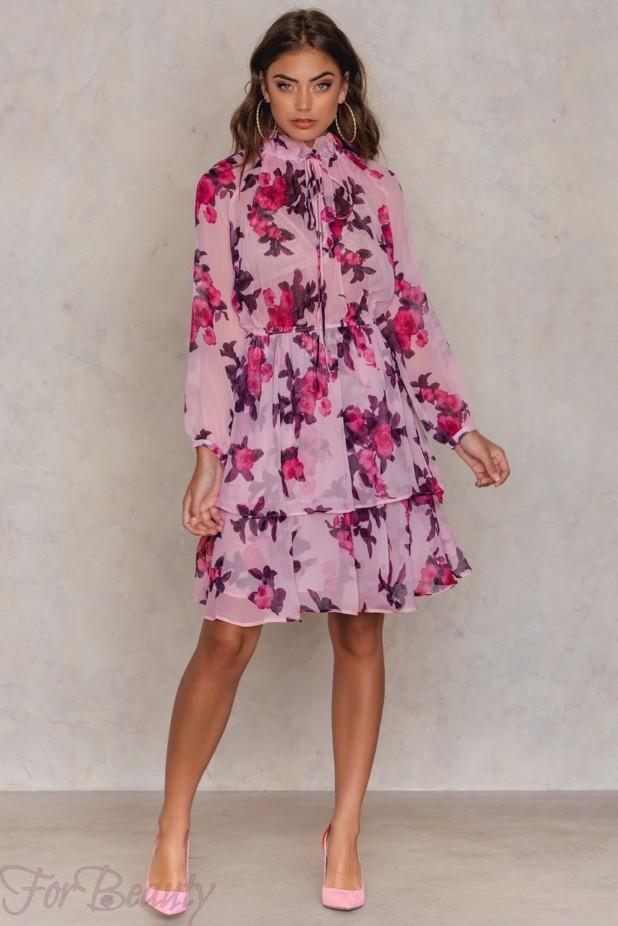 Модные платья из шифона 2018 фото