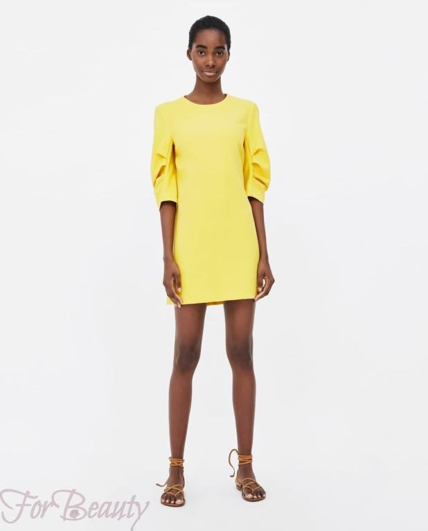 Модное желтое миниплатье 2018