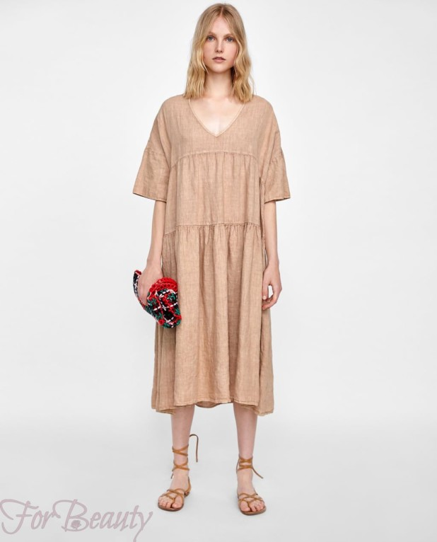 Модное бежевое платье макси длины 2018