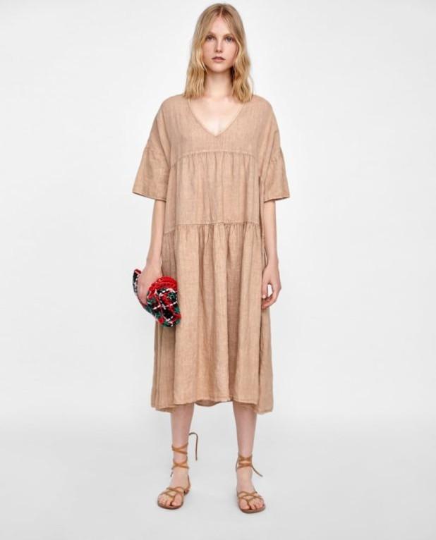 платья 2018-2019 года: бежевое макси длины