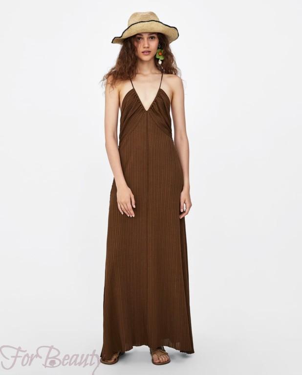 Модное коричневое платье макси длины 2018
