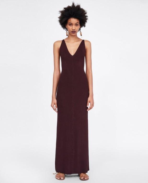 платья 2018-2019 года: коричневое макси длины