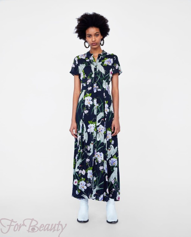 Модное цветастое платье макси длины 2018