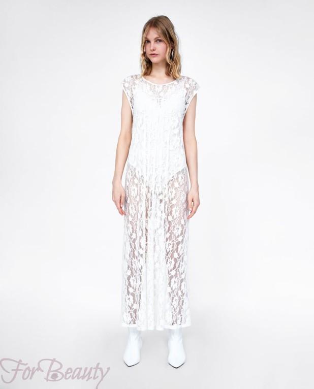Модное белое платье макси длины 2018