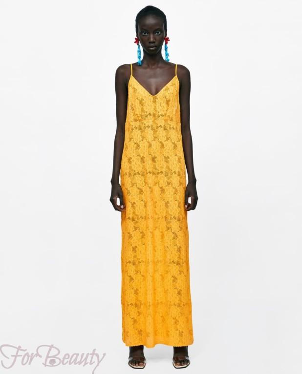 Модное желтое платье макси длины 2018