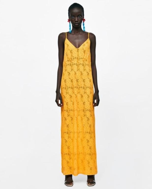 модные платья: желтое макси длины