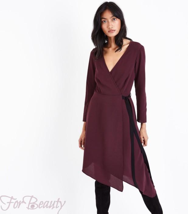 Модное бардовое платье для офиса 2018
