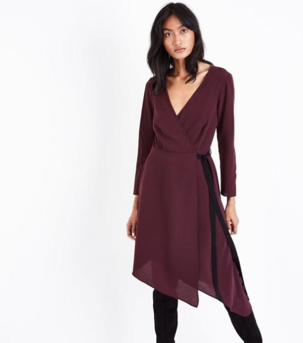 модные платья: бордовое для офиса