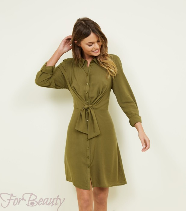 Модное зеленое платье для офиса 2018