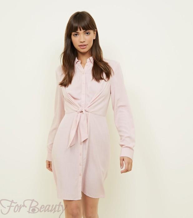 Модное розовое платье для офиса 2018