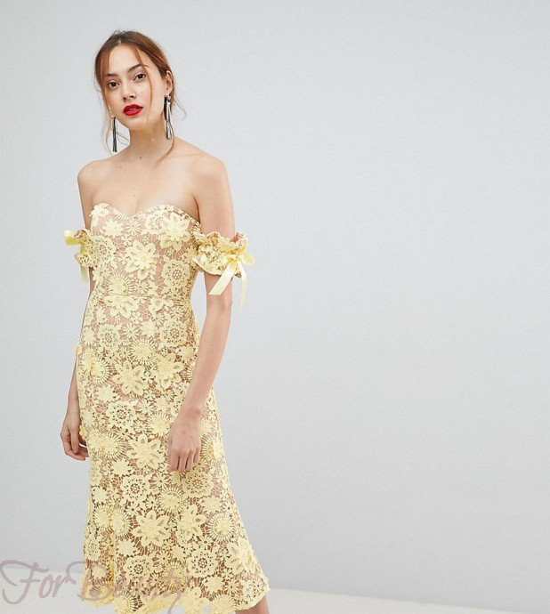 Модное желтое кружевное платье 2018