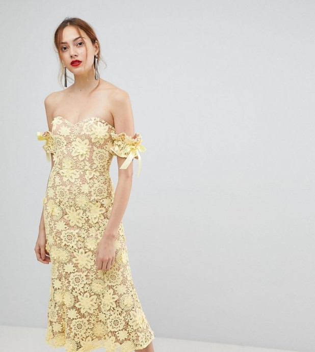модные платья: желтое кружевное