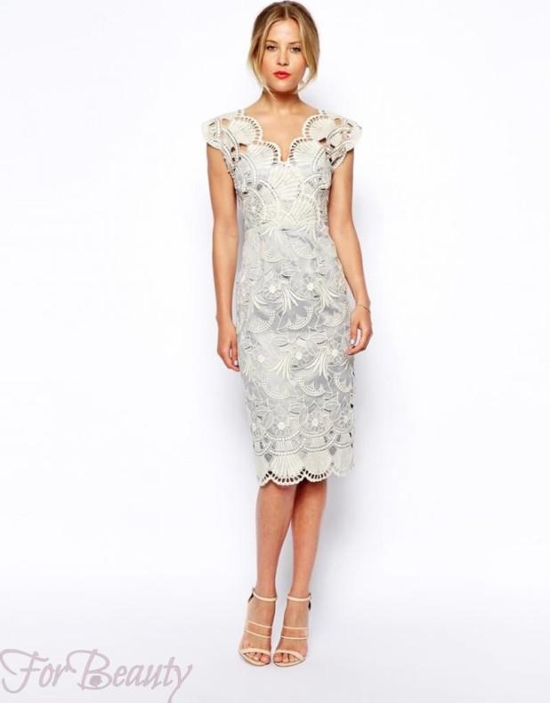 Модное белое кружевное платье 2018