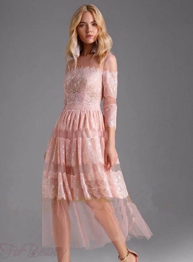 Модное розовое кружевное платье 2018