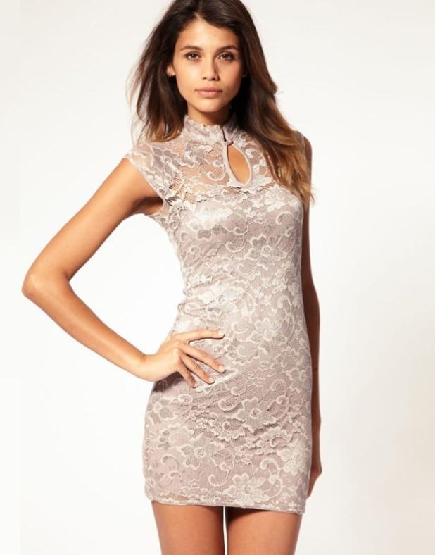 модные платья: розовое кружевное
