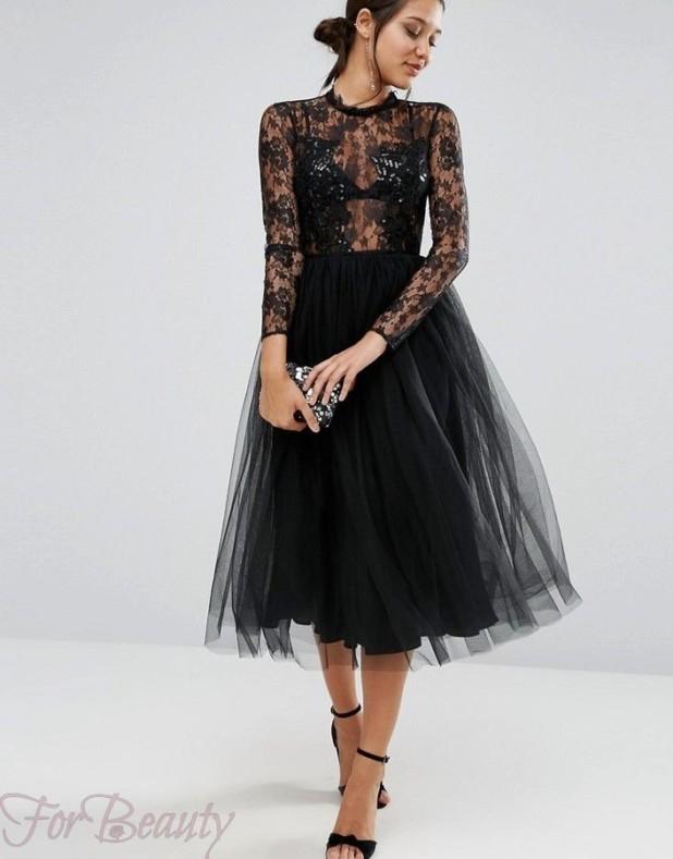 Модное черное кружевное платье 2018