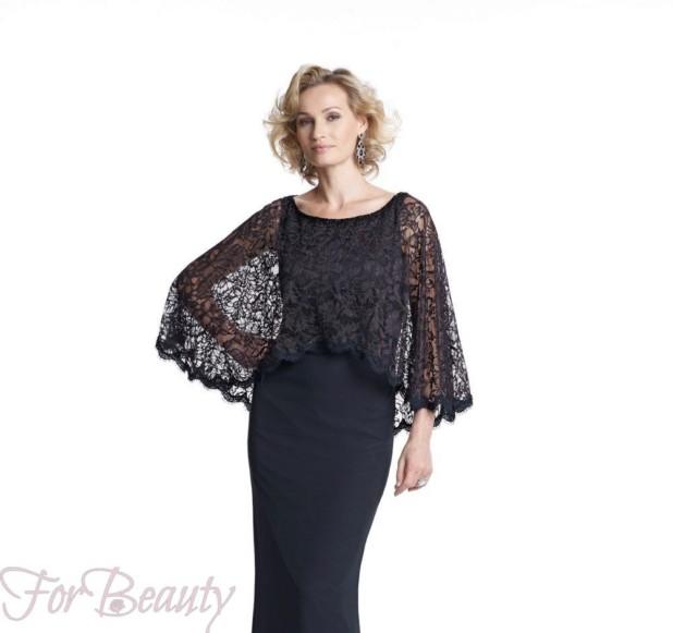 Модное черное платье с накидкой 2018