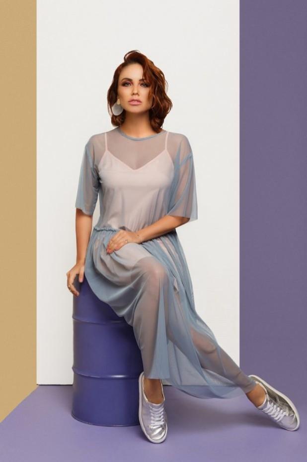модное платье: розовое с накидкой