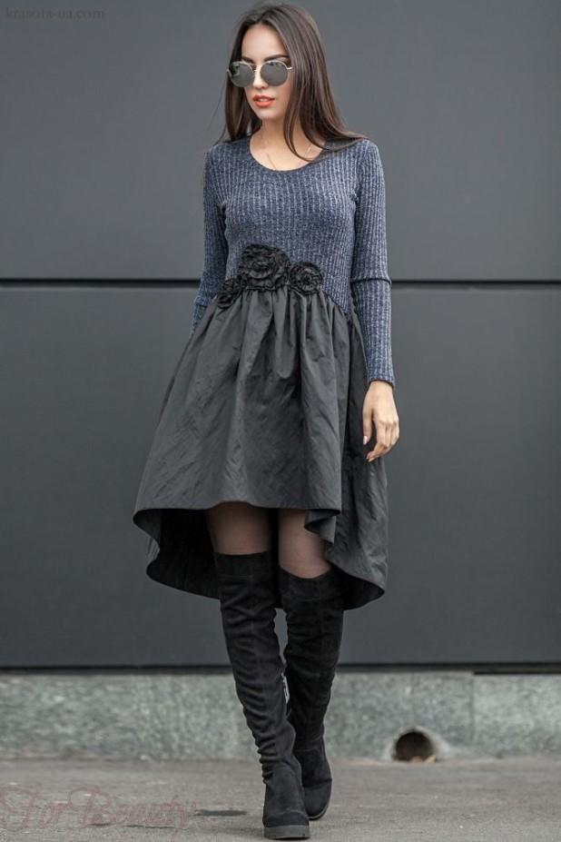 Модное серое платье «Маллет»