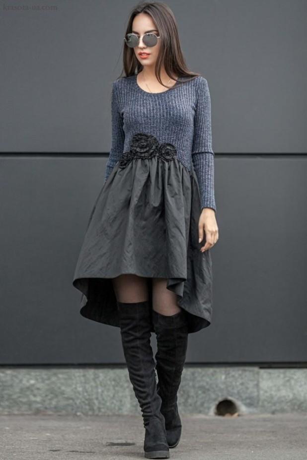 модное платье: серое Маллет