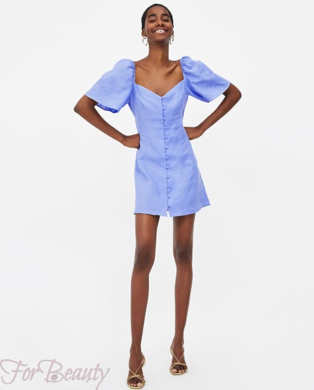 Модное голубое миниплатье 2018