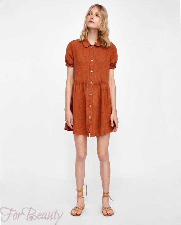 Модное коричневое миниплатье 2018