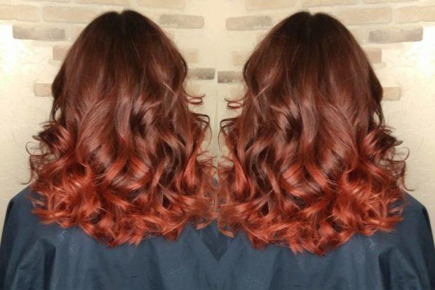 Модная покраска для рыжих волос на средние волосы