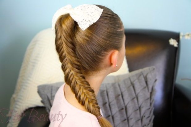 Прическа коса с хвостика на 1 сентября для девочек фото