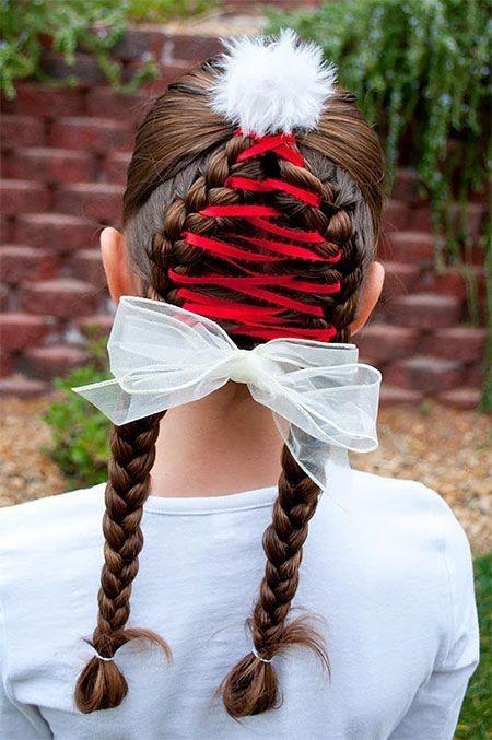 Вплетение ленты в косички на 1 сентября для девочек фото