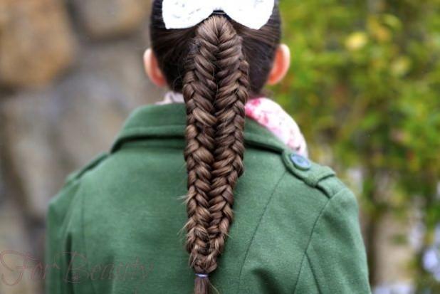 Прическа коса с хвостика на 1 сентября для девочек