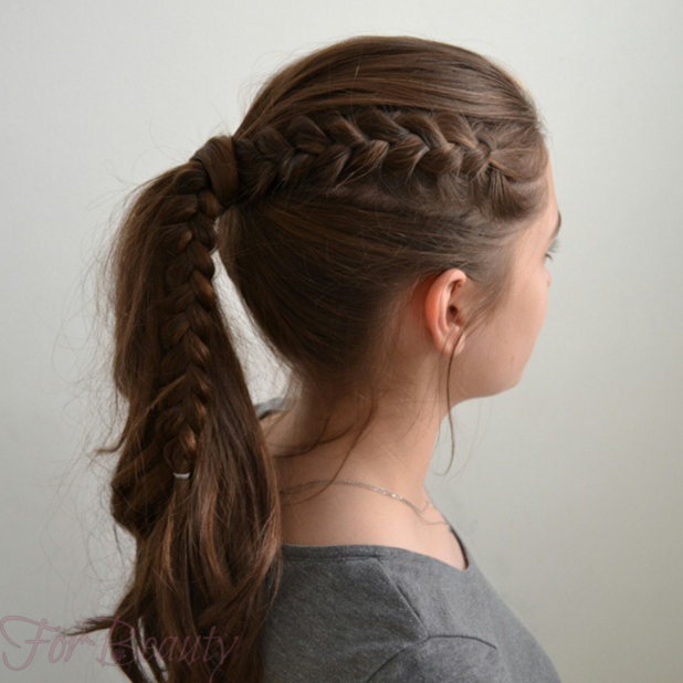 Модная причёска Конский хвост на 1 сентября на длинные волосы