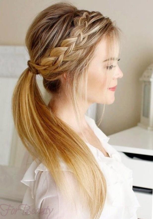 причёска «Конский хвост» на 1 сентября на длинные волосы