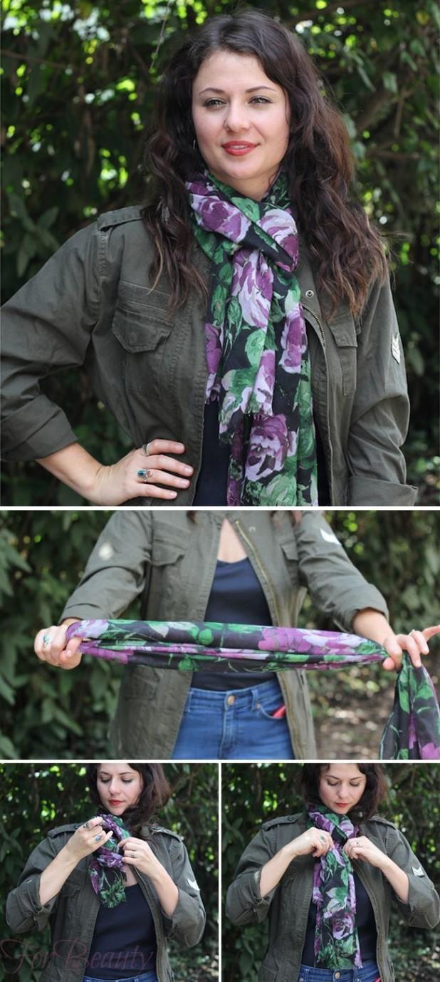 как завязать шарф французским узлом