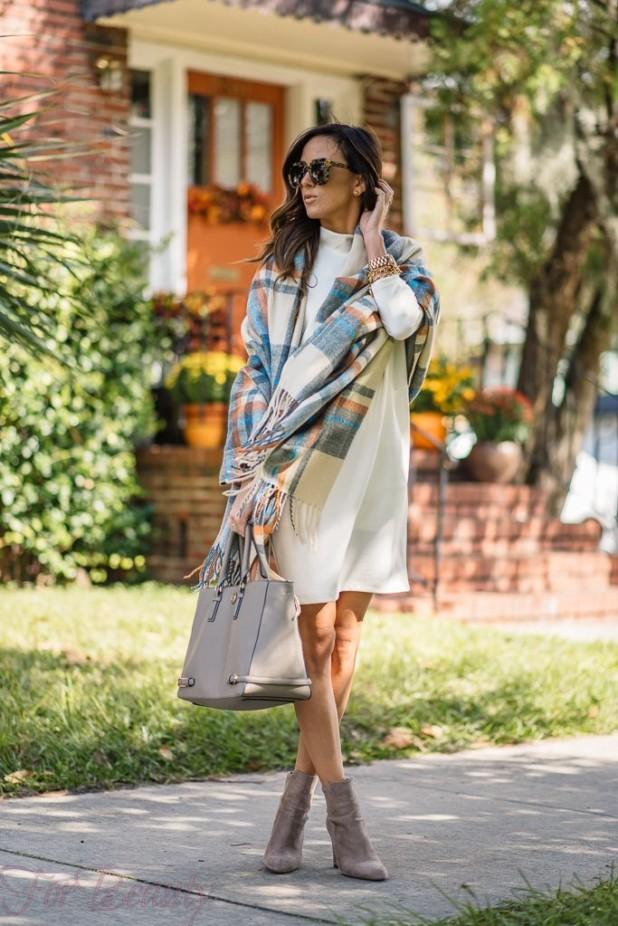 красивый лук пальто с шарфом