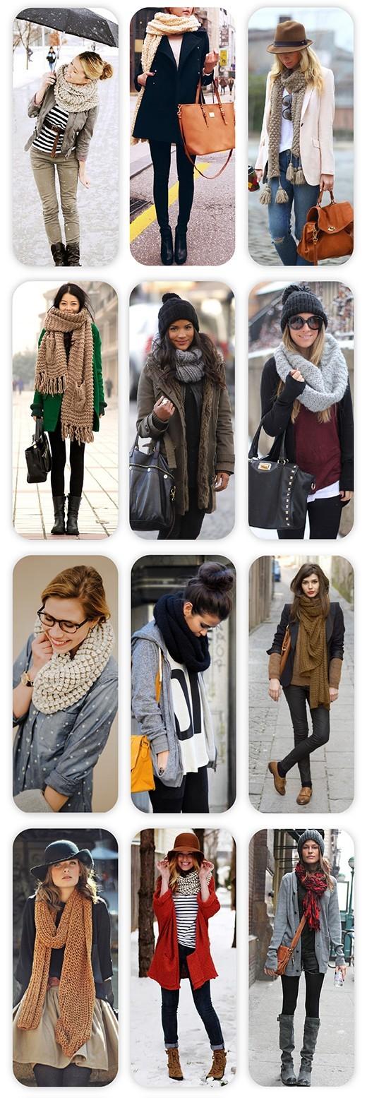 виды завязывания шарфа