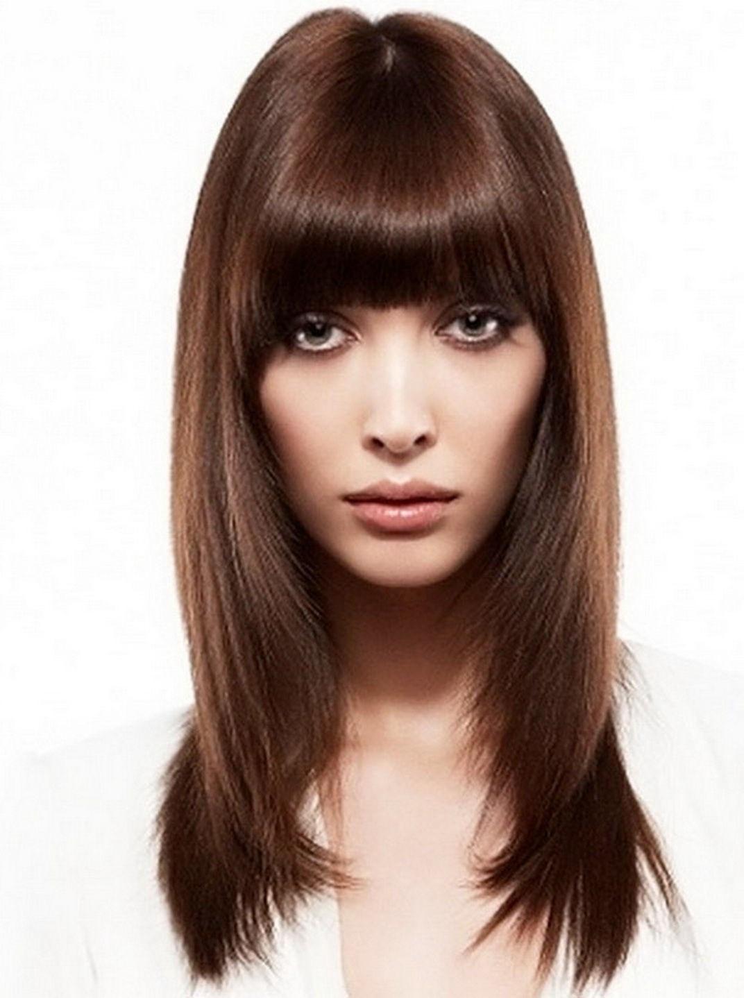 Женские стрижки длинные волосы с челкой картинки