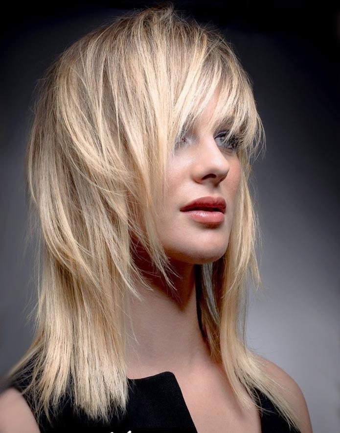Стрижка каскад на длинные волосы фото 2018-2019 с челкой