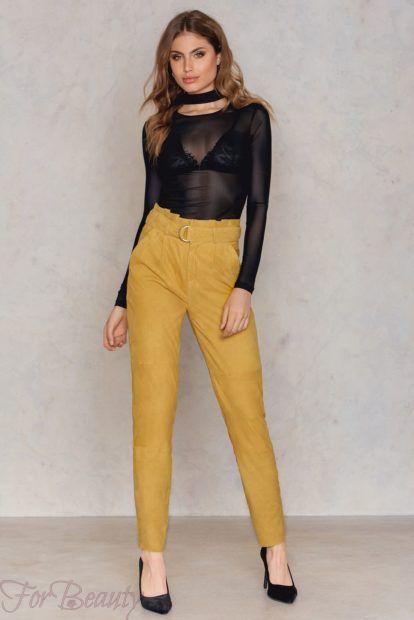 брюки женские 2019 года: желтые