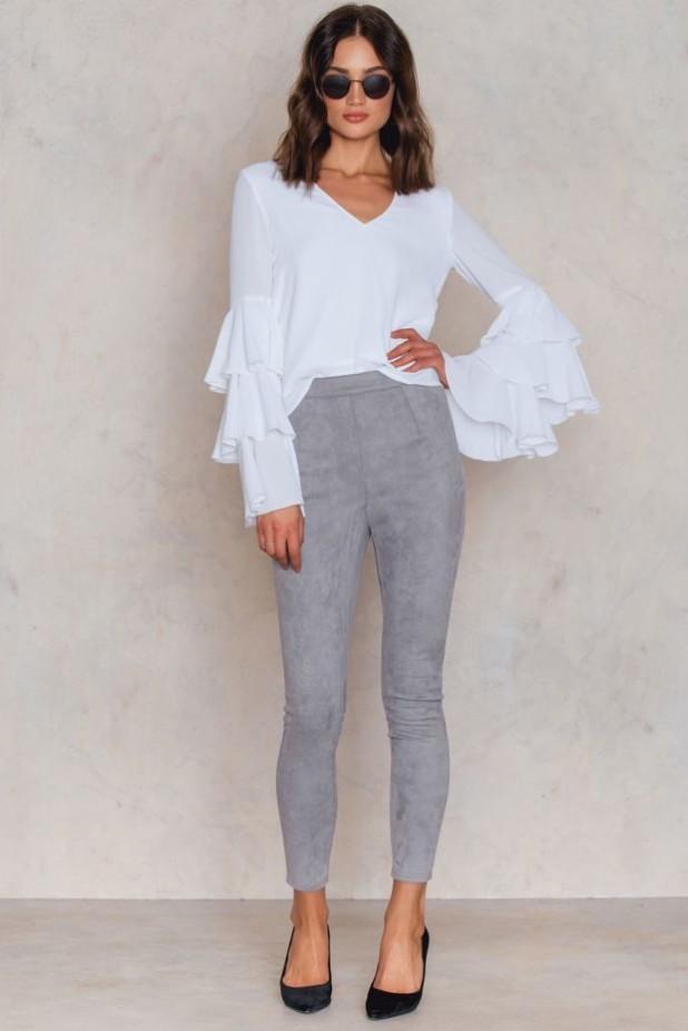 брюки женские 2018-2019 года: узкие серые