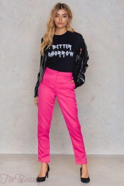 брюки женские 2019 года: розовые