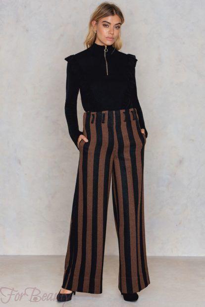 брюки женские 2019 года модные тенденции фото: широкие в полоску